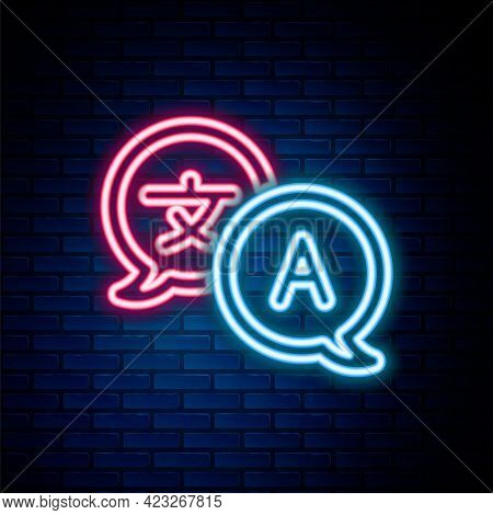 Glowing Neon Line Translator Icon Isolated On Brick Wall Background. Foreign Language Conversation I