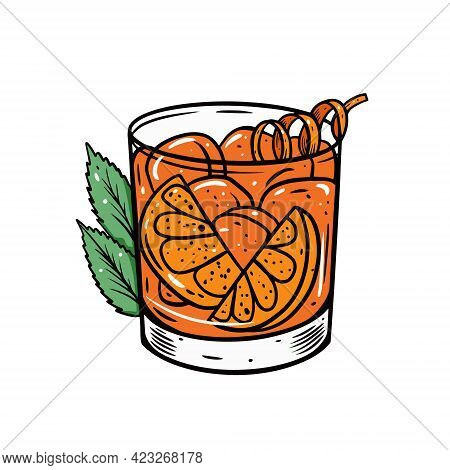 Old Fashioned Cocktail. Hand Drawn Colorful Outline Cartoon Style.