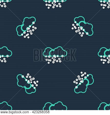 Line Cloud With Snow Icon Isolated Seamless Pattern On Black Background. Cloud With Snowflakes. Sing