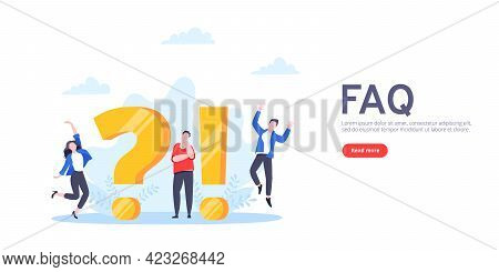 Q And A Or Faq Concept With Tiny People Characters, Big Question And Exclamation Mark, Frequently As
