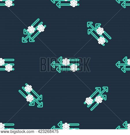 Line Wind And Snow Icon Isolated Seamless Pattern On Black Background. Windy Weather. Vector