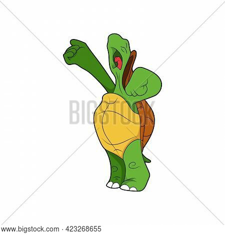 Cartoon Character. Turtle Sings. Turtle Is Screaming. Isolated On White Background. Animal Theme.