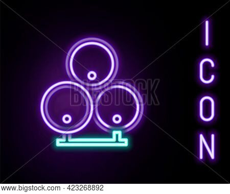 Glowing Neon Line Wooden Barrels Icon Isolated On Black Background. Alcohol Barrel, Drink Container,