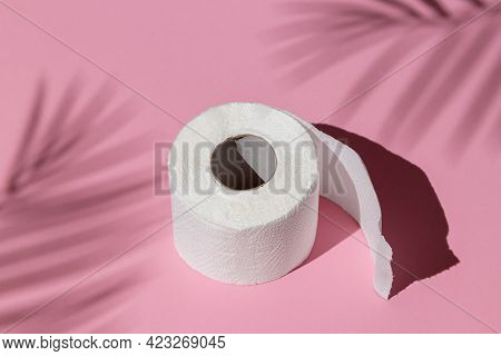Roll Of A White Toilet Paper Isolated On A Pink Background Under A Palm Tree Shadow Close-up. Hard S