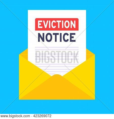 Eviction Notice Legal Document In The Envelope Vector Illustration Flat Style Design. Notice To Vaca