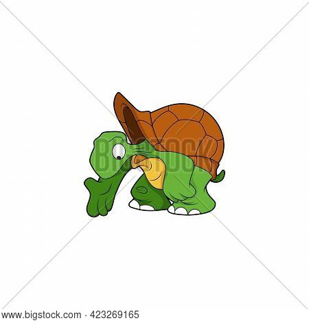 Cartoon Character. Turtle Is Pointing Down. Turtle Looking Down. Isolated On White Background. Anima