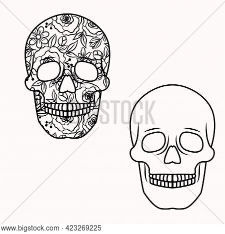 Skull Outlines With Flowers Inside. Floral Skull Decorative Vector Illustration For Cutout Cards