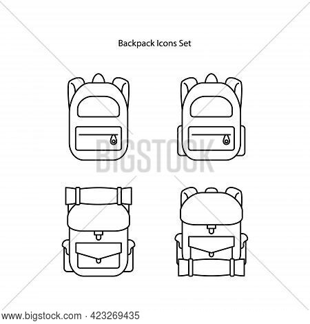 Backpack Icons Set Isolated On White Background. Backpack Icon Thin Line Outline Linear Backpack Sym