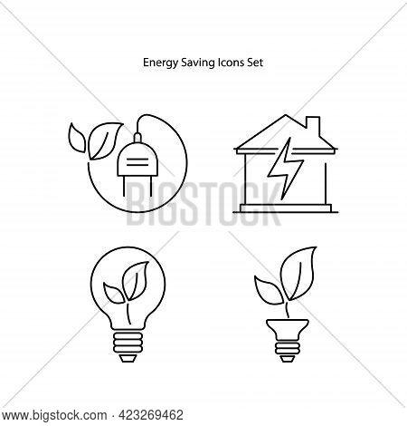 Energy Saving Icons Set Isolated On White Background. Energy Saving Icon Trendy And Modern Energy Sa