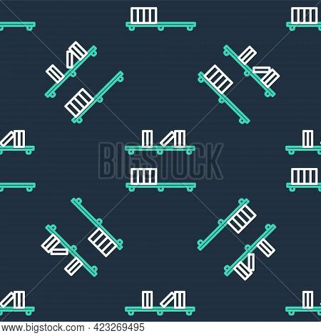 Line Shelf With Books Icon Isolated Seamless Pattern On Black Background. Shelves Sign. Vector
