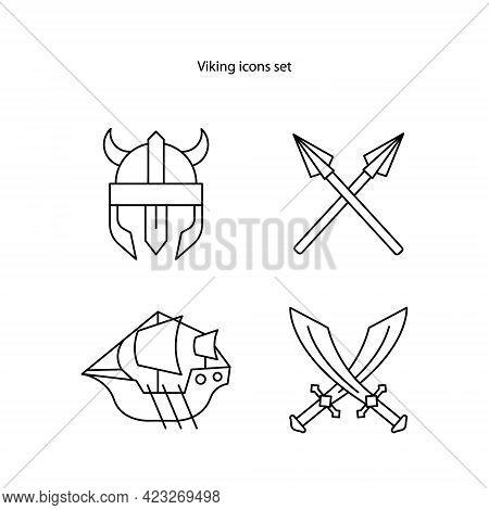 Viking Icons Set Isolated On White Background. Viking Icon Thin Line Outline Linear Viking Symbol Fo