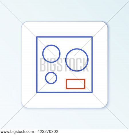 Line Electric Stove Icon Isolated On White Background. Cooktop Sign. Hob With Four Circle Burners. C