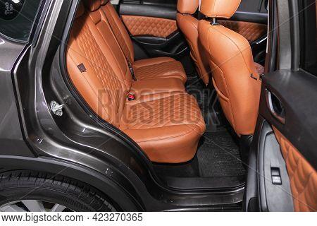Novosibirsk, Russia - June 08, 2021:  Mazda Cx-5, Comfort Car Inside. Clean Car Interior: Brown Leat