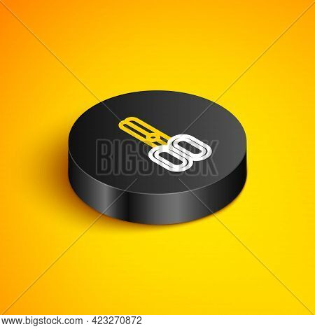 Isometric Line Scissors Hairdresser Icon Isolated On Yellow Background. Hairdresser, Fashion Salon A