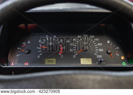 Novosibirsk, Russia - June 08, 2021: Lada Niva , Car Dashboard :odometer, Speedometer, Tachometer, F