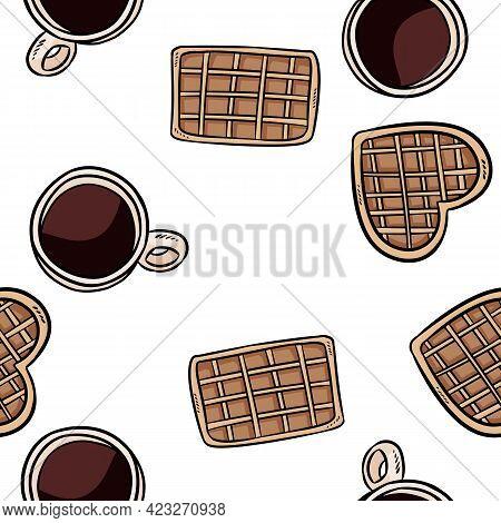 Belgian Waffles And Coffee Cups Doodles Seamless Border Pattern. Cute Cartoon Tasty Breakfast Repeat