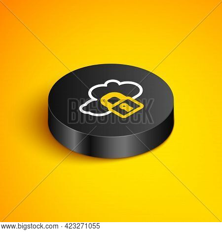 Isometric Line Cloud Computing Lock Icon Isolated On Yellow Background. Security, Safety, Protection