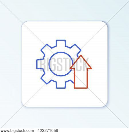 Line Arrow Growth Gear Business Icon Isolated On White Background. Productivity Icon. Colorful Outli