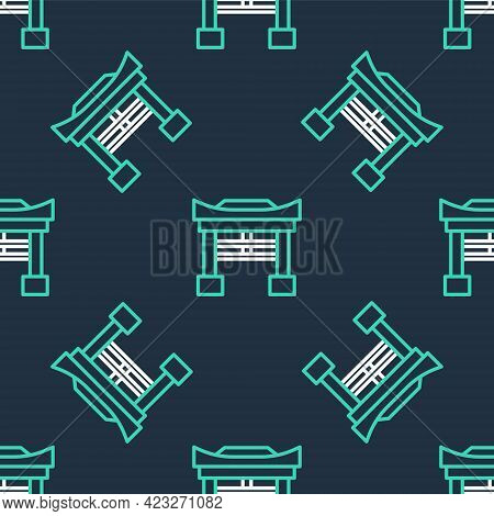 Line Japan Gate Icon Isolated Seamless Pattern On Black Background. Torii Gate Sign. Japanese Tradit