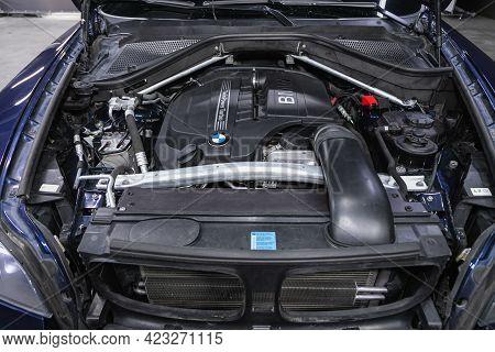 Novosibirsk, Russia - June 08, 2021: Bmw X6 , Close Up Detail Of New Car Engine