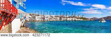 Greece travel. Luxury island Mykonos. panorama of