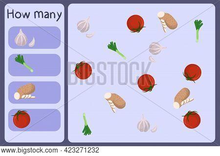Kids Mathematical Mini Game - Count How Many Vegetables - Garlic, Leek, Yam, Tomato. Educational Gam