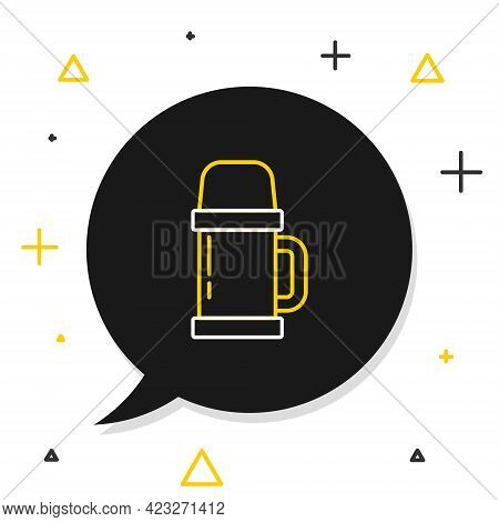 Line Thermos Container Icon Isolated On White Background. Thermo Flask Icon. Camping And Hiking Equi