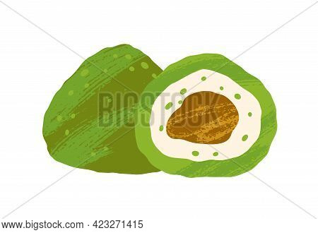 Matcha Pastry With Green Tea Flavor And Chocolate Filling. Japanese Vegan Candy. Natural Sugar-free
