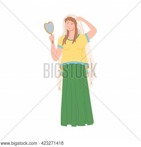 Roman Woman Wearing Long Tunic And Sandals Looking In The Mirror Vector Illustration