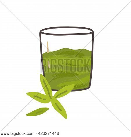 Glass Of Cold Green Tea Matcha Drink. Cold Refreshing Japanese Beverage. Traditional Natural Asian R