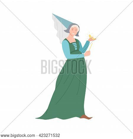 Kind Fairy With Magic Wand Holding Gold Shoe As Fabulous Medieval Character From Fairytale Vector Il