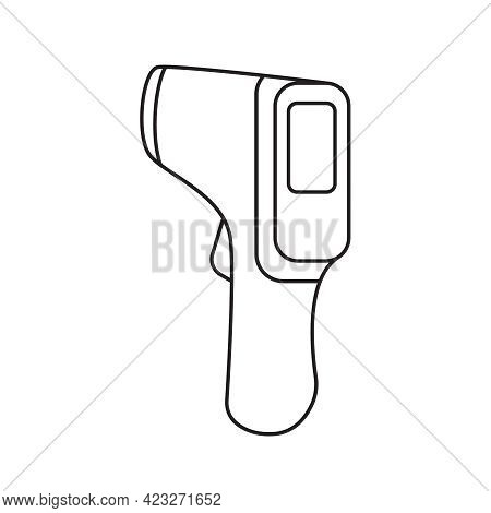Vector Icon Of Non-contact Infrared Electronic Thermometer In Linear Style For Measuring Temperature