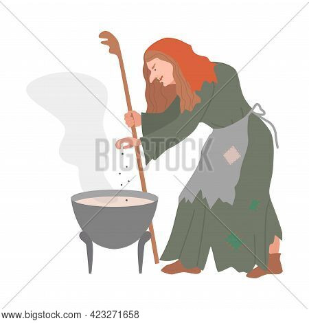 Witch Boiling Poison In Cauldron As Fabulous Medieval Character From Fairytale Vector Illustration