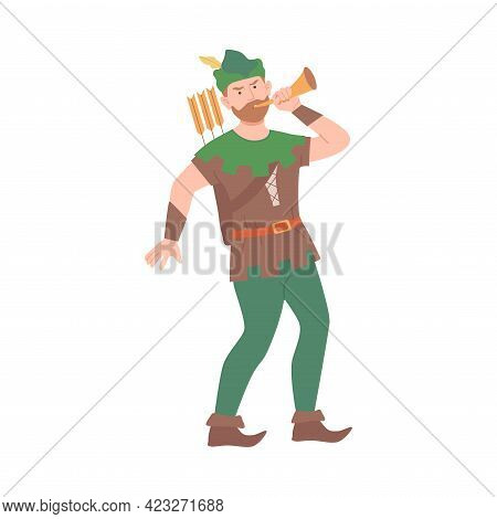 Robin Hood With Trumpet As Fabulous Medieval Character From Fairytale Vector Illustration