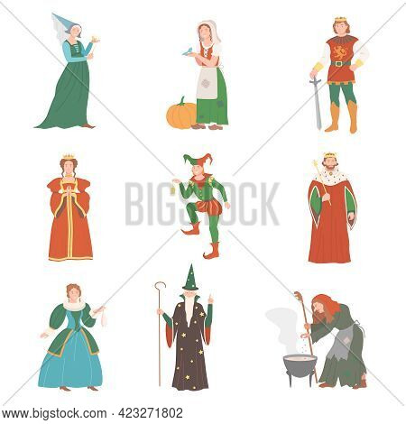 Fabulous Medieval Character From Fairytale With Cinderella And Fairy Vector Set