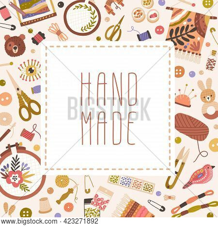 Card Template Design With Tools For Embroidery, Sewing, Knitting, And Other Crafts. Modern Backgroun