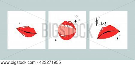Red Lips Poster Set. Female Sexy Lipstick Modern Card. Woman Lip With Makeup, Tongue And White Teeth