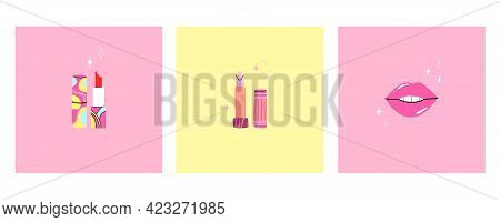Lipstick Set. Female Beauty Makeup Element On Yellow Background Poster Or Card Collection. Trendy Gl