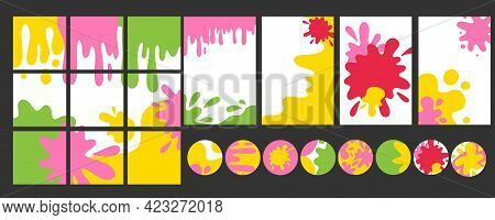 Trendy Blotch Backgrounds. Patterns Doodle Shapes Bright Colors And Forms. Hand Drawn Abstract Paint