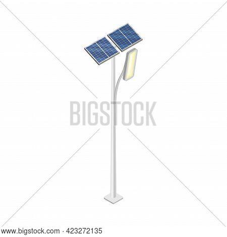 Street Lamp Or Streetlight Powered By Solar Panel As Smart City Isometric Vector Illustration
