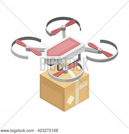 Drone As Aerial Vehicle Delivering Parcel In Carton Box As Smart City Isometric Vector Illustration