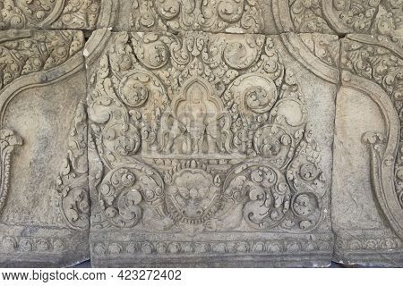 Detail Of Carvings Stone Bas-relief Lintel Of Khmer Culture In Thailand,depicting Indra On Airavata