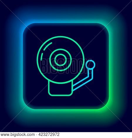 Glowing Neon Line Ringing Alarm Bell Icon Isolated On Black Background. Alarm Symbol, Service Bell,