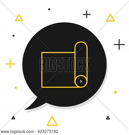 Line Fitness Mat Roll Icon Isolated On White Background. Yoga Mat Rolled. Sport Equipment. Colorful