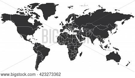 Simplified Schematic Map Of World. Blank Political Map Of Countries. Generalized And Smoothed Border