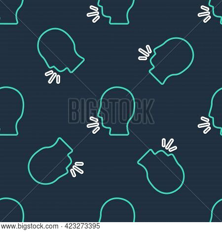 Line Man Coughing Icon Isolated Seamless Pattern On Black Background. Viral Infection, Influenza, Fl