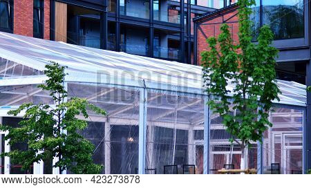 Close Up Of Transparent Tent For An Event.