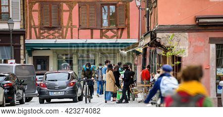 Strasbourg, France - May 20, 2021: Busy City Center Of Strasbourg With People Waiting For Takeaway F
