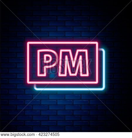 Glowing Neon Line Clock Pm Icon Isolated On Brick Wall Background. Time Symbol. Colorful Outline Con