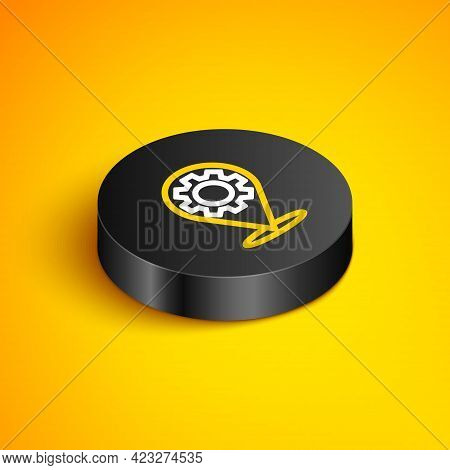 Isometric Line Car Service Icon Isolated On Yellow Background. Auto Mechanic Service. Repair Service